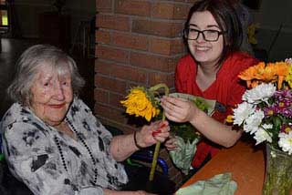 flower arranging at Perton Manor